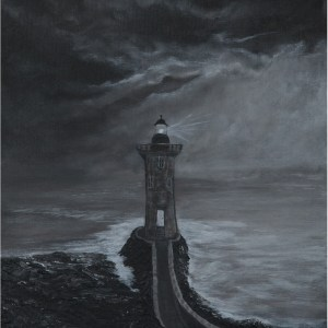 black and white acrylic painting of a lighthouse and clouds