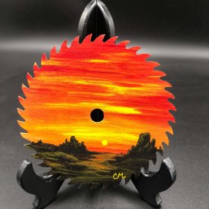 Desert-Sunset-Acrylic-Painted-Round-Saw-Blade-By-Chesley-Marchand