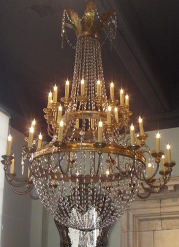 A Late 18th Century Italian Neoclassical Crystal And Gilt Metal 40 Light Chandelier No