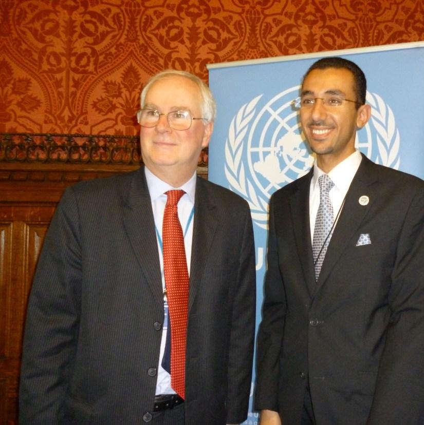 Dr. Alshammari with Sir Mark Lyal Grant, former UK Ambassador the United Nations