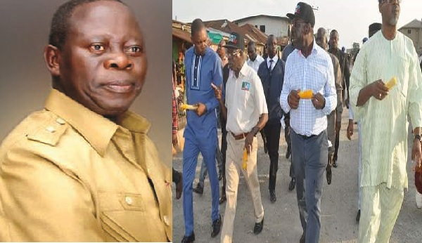 As Edo State Election Takes Shape, Oshiomhole Walks The Street Eating Corn (Video)