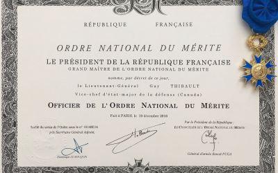 Le Lgén (ret) Guy Thibault: Officier de L'Ordre National du Mérite