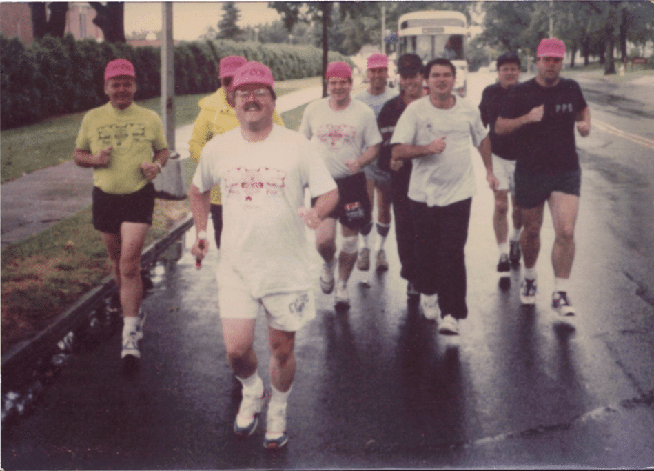 1993 Run for Jimmy WCCOPA members. L to R Lt. Rand,C-pack, Chiefs Hicks, Holden, WCCOP President Healy, Hubbardston,  Roddy,, Leominster,Schmohl,Princeton,  Handfield, Millbury,  Boucher, Bellingham,  Messier, Grafton  and Bob Mortell, Paxton.
