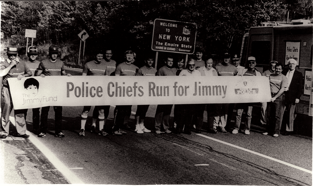 The line up to start the first Run for Jimmy September 1984.   Chief Bob Johnson sixth from the left the brainchild of the Run for Jimmy.