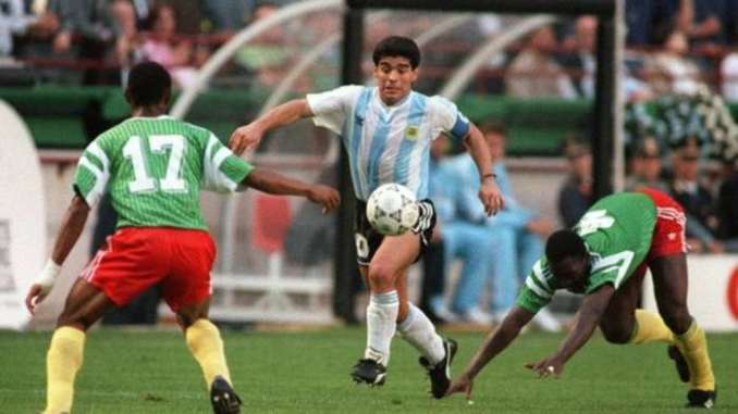 Argentina legend Maradona in action against Cameroon in 1990 World Cup
