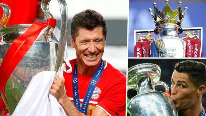 Robert Lewandowski Champions League Cristiano Ronaldo European Championship Premier League trophy