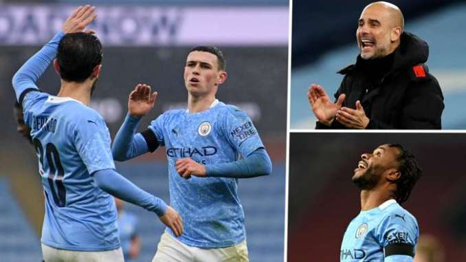 Phil Foden Pep Guardiola Raheem Sterling Manchester City GFX