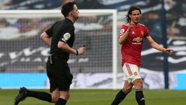 Edinson Cavani was furious to see his first-half strike ruled out following a VAR review