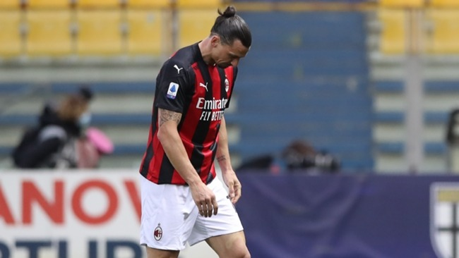 Milan striker Zlatan Ibrahimovic was sent off against Parma