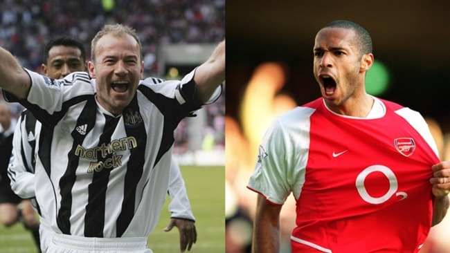 Alan Shearer (L) and Thierry Henry are in the Premier League Hall of Fame