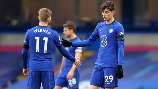 Chelsea's Timo Werner (L) and Kai Havertz (R)