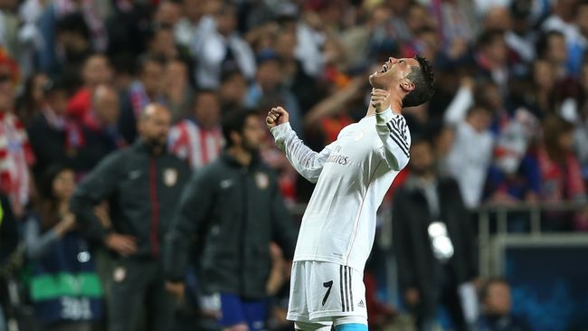 Cristiano Ronaldo roars with delight as Real Madrid win the Champions League in 2014