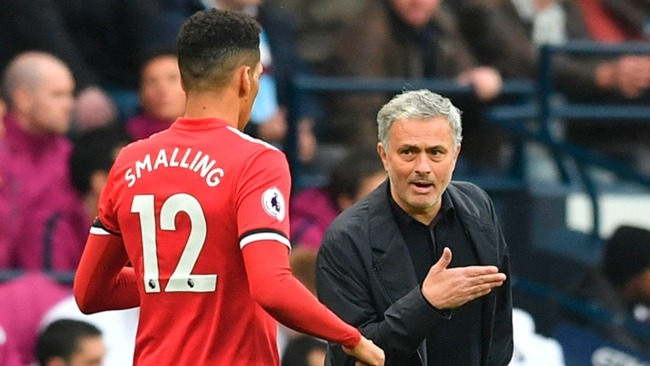 Chris Smalling and Jose Mourinho at United