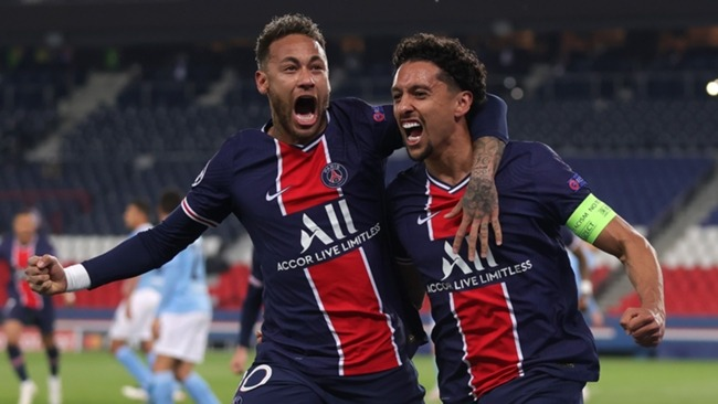 Neymar and Marquinhos celebrate PSG taking the lead against Manchester City.