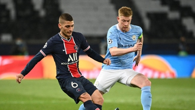 Marco Verratti in action against Manchester City