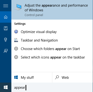 Visual Effects and Performance Options in Windows 8 and 10