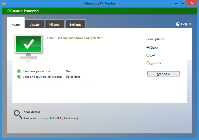 Windows Defender on Windows 8 onward includes antivirus protection. Earlier versions have to get a separate product, such as the free MSE.