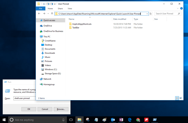 Windows 10 showing Run box and User Pinned folder