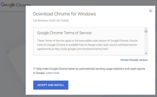 Uncheck this box before you download Chrome to prevent auto-launch background services from monitoring your usage and slowing down your computer.