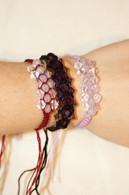 Close up of the Swarovski bracelets.
