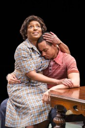 (L to R) Dawn Ursula as Ruth Younger and Will Cobbs as Walter Lee Younger in A Raisin in the Sun at Arena Stage at the Mead Center for American Theater, running March 31-May 7, 2017. Photo by C. Stanley Photography.