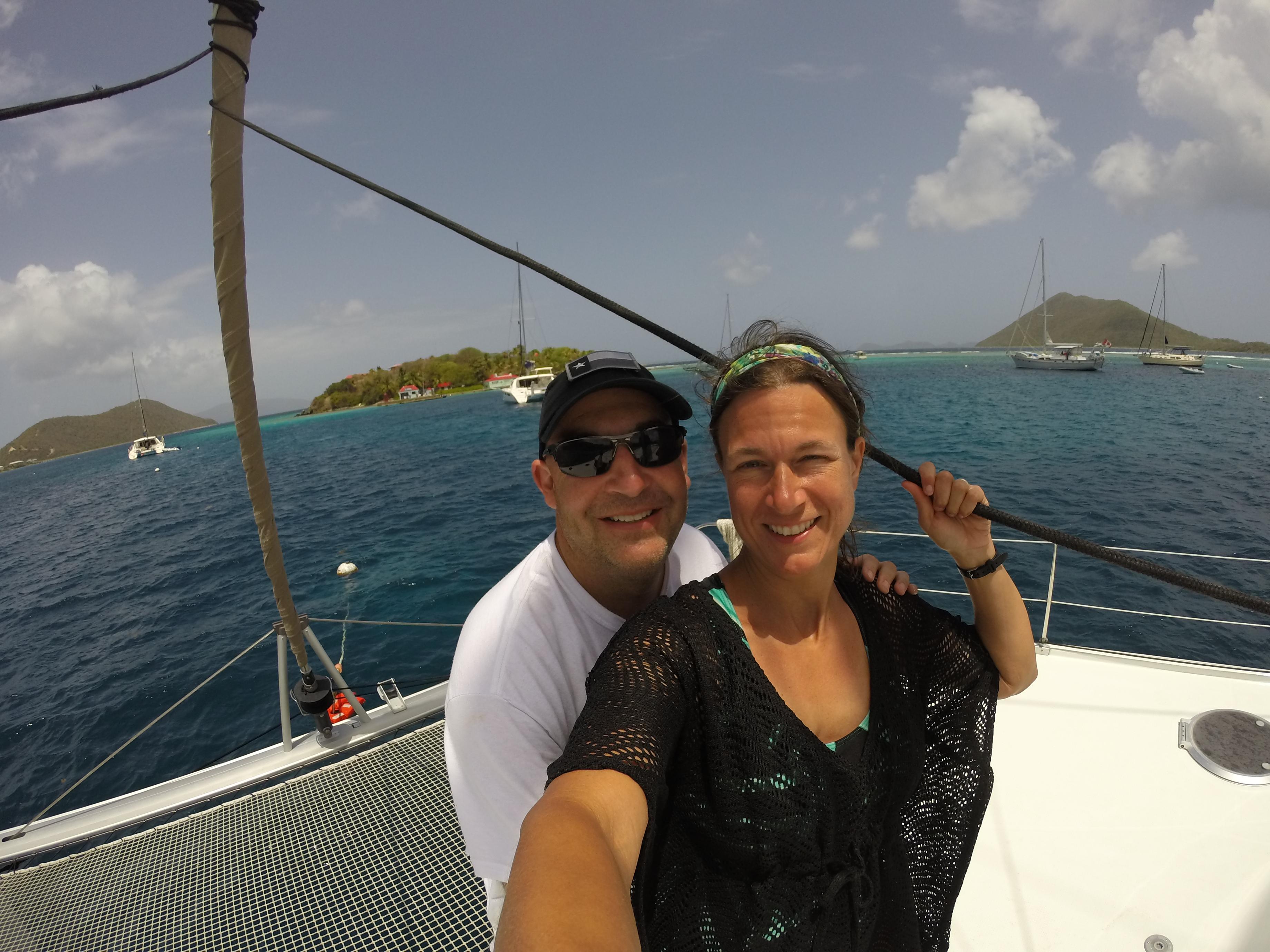 Brian Pinkston and Cheryl Lowry sailing the British Virgin Islands.