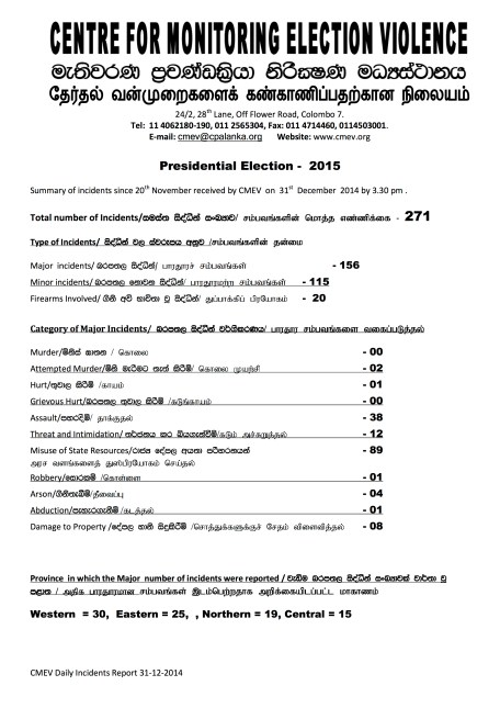 Presidential Election 2015- summary 31.12.2014 - Page 1