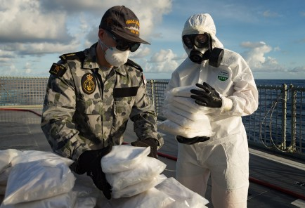 HMAS Arunta personnel prepare to destroy illegal narcotics seized on 8 June 2017 while the ship was on patrol in the Middle East region. *** Local Caption *** HMAS Arunta operates as part of the multi-national Combined Maritime Forces, predominately tasked to support Combined Task Force 150 for counter-terrorism and maritime security operations. Arunta is deployed on Operation MANITOU, supporting international efforts to promote maritime security, stability and prosperity in the Middle East region (MER). Arunta is on her third deployment to the MER and is the 64th rotation of a Royal Australian Navy vessel to the region since 1990.