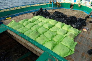 While on patrol in the Middle East region, HMAS Arunta conducted a boarding and discovered about 800kg of illegal narcotics. *** Local Caption *** HMAS Arunta seized more than 800kg of illegal narcotics during maritime security operations in the Middle East region (MER). Under the direction of the Canadian-Australian lead Combined Task Force (CTF) 150, HMAS Arunta intercepted and boarded a fishing vessel (dhow) operating in a manner consistent with possible illegal activity. HMAS Arunta operates as part of the multi-national Combined Maritime Forces, predominately tasked to support Combined Task Force 150 for counter-terrorism and maritime security operations. Arunta is deployed on Operation MANITOU, supporting international efforts to promote maritime security, stability and prosperity in the Middle East region (MER). Arunta is on her third deployment to the MER and is the 64th rotation of a Royal Australian Navy vessel to the region since 1990.