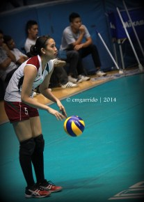 Lady Fighting Maroon Team Captain Angeli Araneta getting ready for the serve