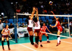 Tiamzon and Layug going for the block