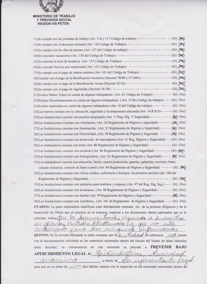 Acta de la inspección de la Inspectoría General del Trabajo (IGT) a la empresa Tikiindustrias. Consta las violaciones a derechos laborales. Fuente: Ministerio Público