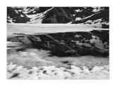 Spring melting ice at Travessany Lake