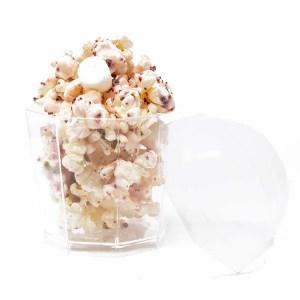 Unique Mini Disposable Cup Caramel Corn With Lid Transparent
