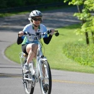 Sharon Pickle climbing the Gatineau Parkway
