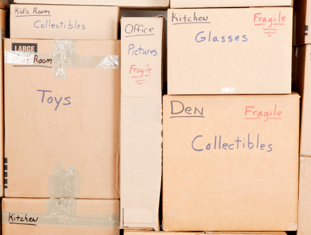 Boxes that are labeled in a detailed faction and stacked in a secure order