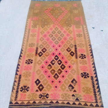 Turkish runner, flat weave, unusual two-tone in salmon pinks and earth tones. $330
