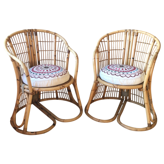 Franco Albini-style bent cane vintage side chairs. 25 x 22 x 33.5. Seat height 16. Boho-style new cushions.