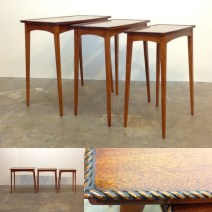 """Beautiful set of tall nesting tables. !960's. Heights from 23.75"""" to 25""""."""