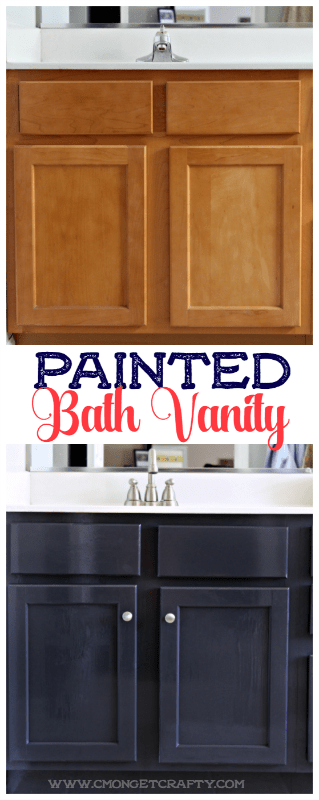 Have you wanted to update your boring bathroom vanity but don't have the money for a remodel? Check out how some hardware and paint made ALL the difference in my bathroom reno!