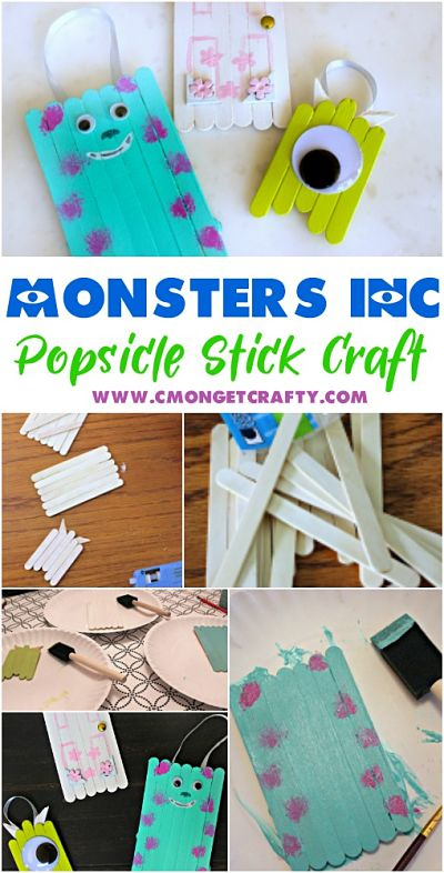 Any Disney fan would be fond of these adorable Monster's Inc popsicle stick craft ornaments! Make Christmas ornaments, magnets, whatever! Super easy and fun craft for kids!