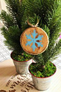 Winter Solstice Wood Tree Ornament