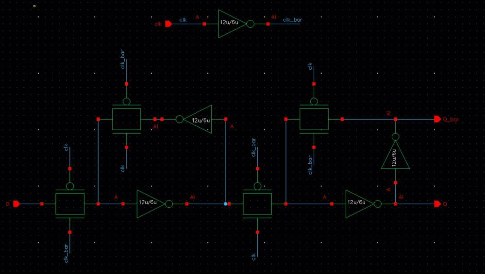 medium resolution of as seen above clk bar was produced within the circuit so the only 4 pins are clk d q and q bar i created a symbol for the above schematic shown below