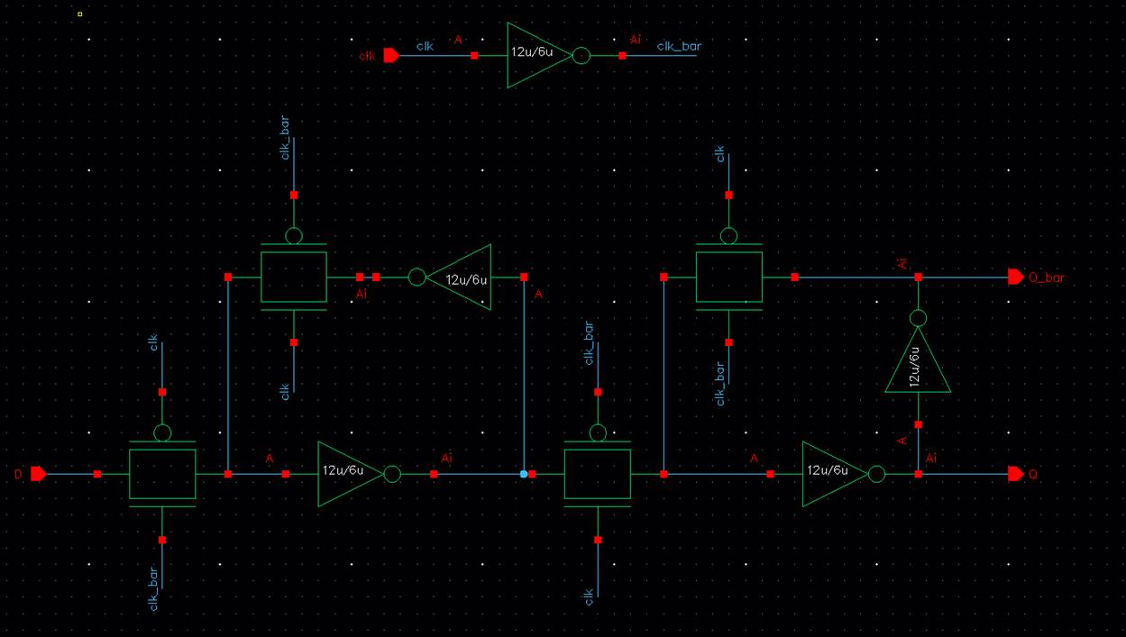 hight resolution of as seen above clk bar was produced within the circuit so the only 4 pins are clk d q and q bar i created a symbol for the above schematic shown below