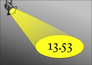 Image of theater spotlight on the number 13.53