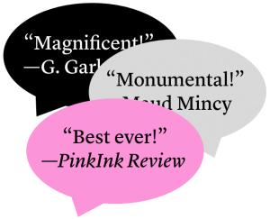 Three overlapping blurbs in speech bubbles