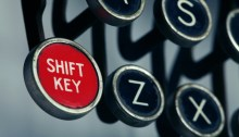 Red shift key on an old-fashioned typewriter