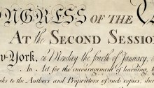 United States Copyright Act of 1790, detail of original parchment