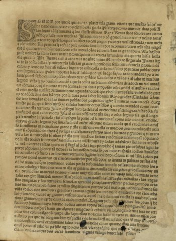 First page of the folio edition of a published letter from Christopher Columbus to Luis de Santangel dated February 15, 1493