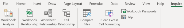 The Inquire tab for Microsoft Excel